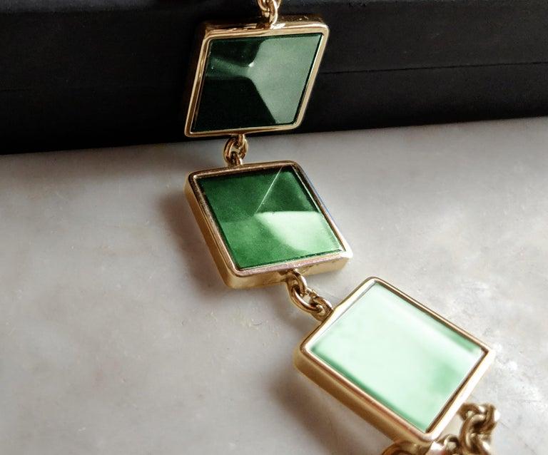 Women's or Men's 18 Karat Gold Art Deco Bracelet with Dark Green Quartzes, Featured in Vogue For Sale