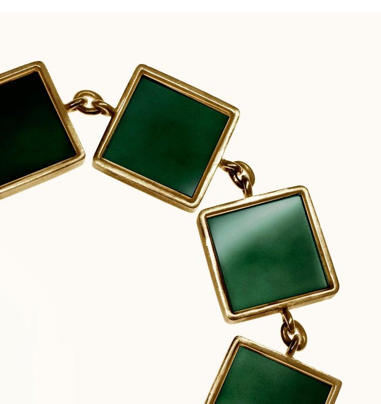 18 Karat Gold Art Deco Bracelet with Dark Green Quartzes, Featured in Vogue For Sale 1