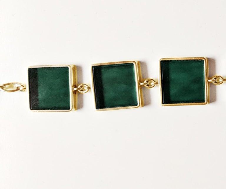 18 Karat Gold Art Deco Bracelet with Dark Green Quartzes, Featured in Vogue For Sale 2