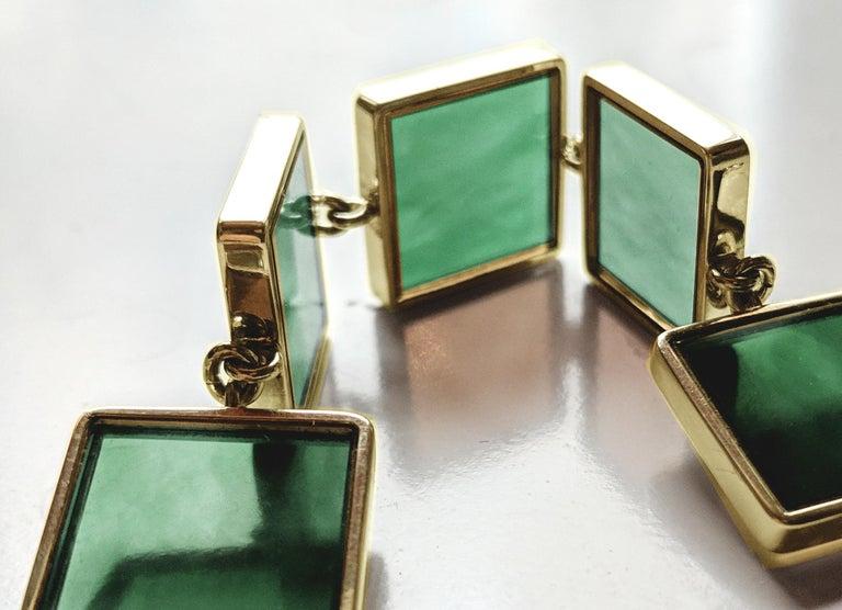 18 Karat Gold Art Deco Bracelet with Dark Green Quartzes, Featured in Vogue For Sale 3