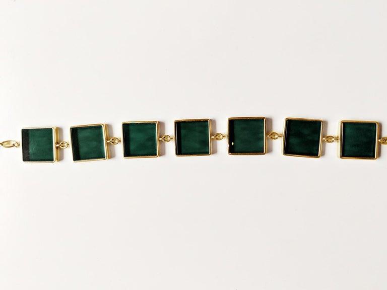 18 Karat Gold Art Deco Bracelet with Dark Green Quartzes, Featured in Vogue For Sale 4