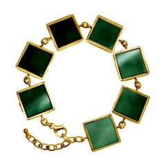 18 Karat Gold Art Deco Bracelet with Dark Green Quartzes, Featured in Vogue