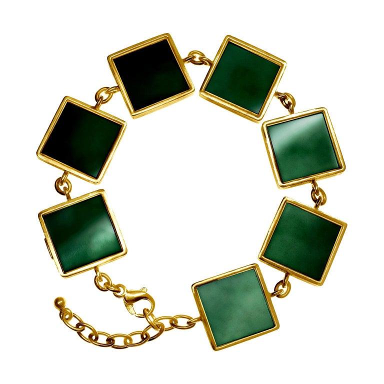 18 Karat Gold Art Deco Bracelet with Dark Green Quartzes, Featured in Vogue For Sale