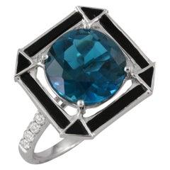 18 Karat Gold Cocktail Ring w/ London Blue Topaz, Black Onyx & Diamonds