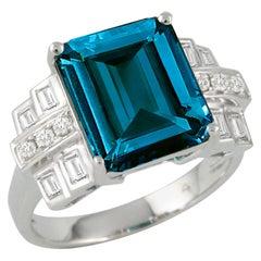 18 Karat Gold Art Deco Cocktail Ring with London Blue Topaz & Baguette Diamonds