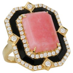 18 Karat Gold Cocktail Ring with Pink Opal, Black Onyx and Diamonds