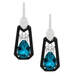 18 Karat Gold Earrings w/ London Blue Topaz, Onyx and Marquise Diamonds