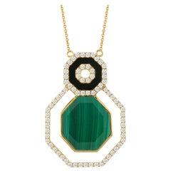 18 Karat Gold Art Deco Hexagon Necklace with Malachite, Black Onyx and Diamonds
