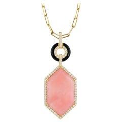 18 Karat Gold Art Deco Hexagon Necklace with Pink Opal, Black Onyx, Diamonds