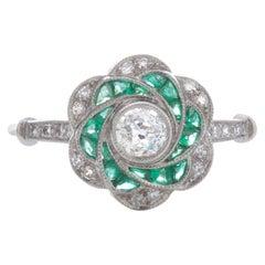 18 Karat Gold Art Deco Inspired Diamond and Emerald Swirl Ring