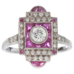 18 Karat Gold Art Deco Inspired Diamond and Ruby Ring