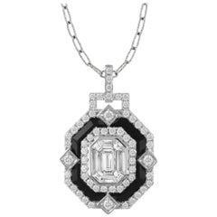 18 Karat Gold Necklace w/ Black Onyx & Invisible-Set Baguette Diamonds