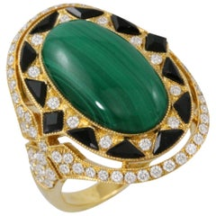 18 Karat Gold Art Deco Style Ring Cabochon Oval Malachite Black Onyx Diamonds