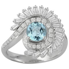 18 Karat Gold Art Deco Style Round Aquamarine Cocktail Ring Baguette Diamonds