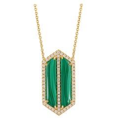 18 Karat Gold Art Deco Style Necklace with Cabochon Malachite and Diamonds