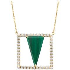 18 Karat Gold Art Deco Style Square Necklace with Triangle Malachite Diamonds