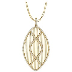18 Karat Gold Art Deco Style MarquiseNecklace with Diamonds and Paperclip Chain