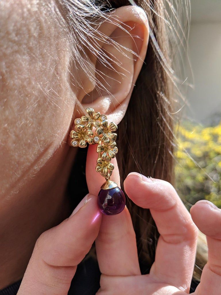 Cabochon 18 Karat Gold Modern Plum Blossom Cocktail Clip-On Earrings with Diamonds For Sale