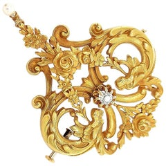 18 Karat Gold Art Nouveau Brooch with Beautiful Old Mine Diamond & Natural Pearl