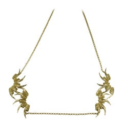 18 Karat Gold Art Nouveau Elegant Jaw Wearable Art Pendant Necklace