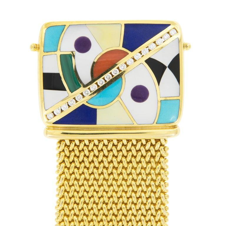 Art Deco 18 Karat Gold Asch Grossbardt Picasso Inlaid Bracelet For Sale