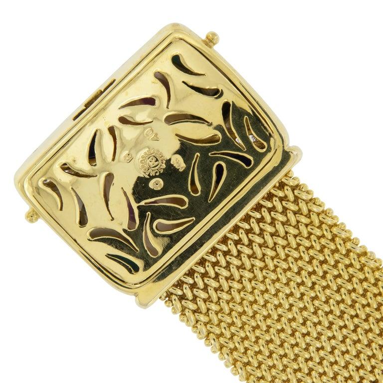 Round Cut 18 Karat Gold Asch Grossbardt Picasso Inlaid Bracelet For Sale