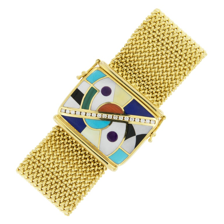 18 Karat Gold Asch Grossbardt Picasso Inlaid Bracelet For Sale