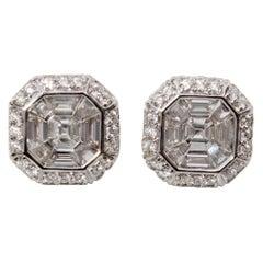 18K White Gold Asscher Cut Diamond Earrings