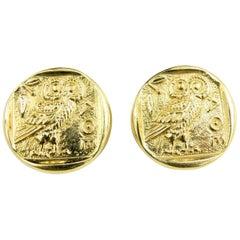 18 Karat Gold Athena Owl Coin Earring
