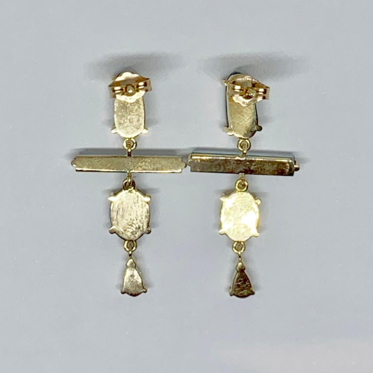 Old Mine Cut 18 Karat Gold Australian Opal Australian Raw Crystal Aquamarine Drop Earrings For Sale