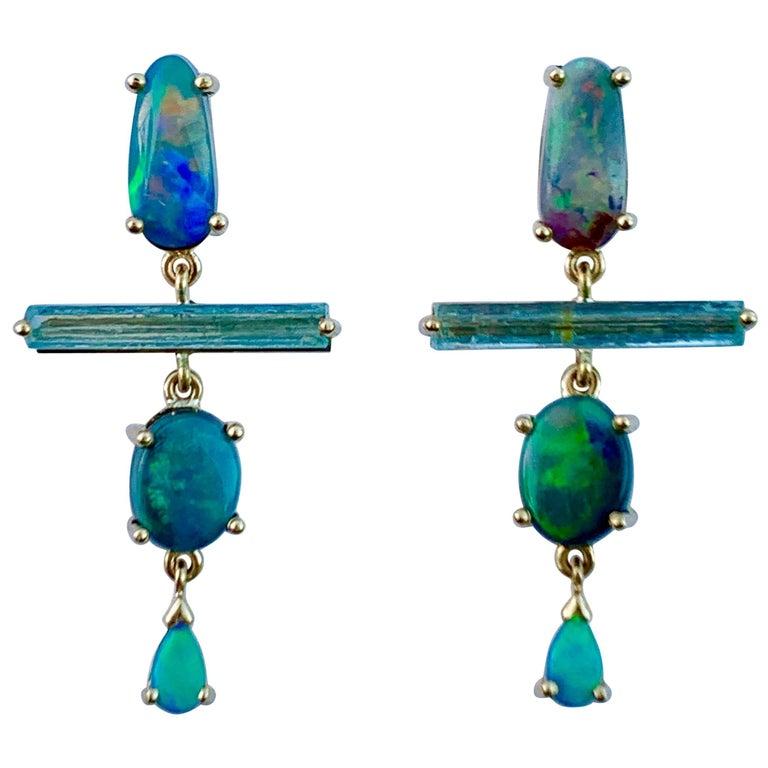 18 Karat Gold Australian Opal Australian Raw Crystal Aquamarine Drop Earrings For Sale