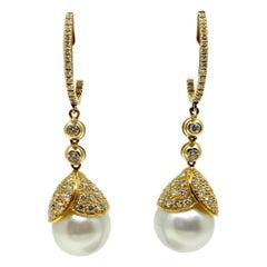 18 Karat Gold Australian Pearls and Diamonds Earrings