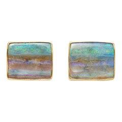 18 Karat Gold Australian Seascape Opal Earrings