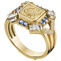 18 Karat Gold, Baguette-cut Diamond and Sapphire Art Deco Calligraphy Ring