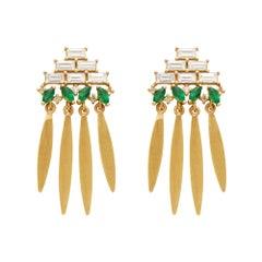 Ileana Makri, 18 Karat Gold Baguette Diamond and Emerald Grass Earrings
