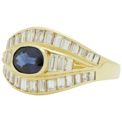 18 Karat Gold, Baguette Diamond, and Sapphire Ring
