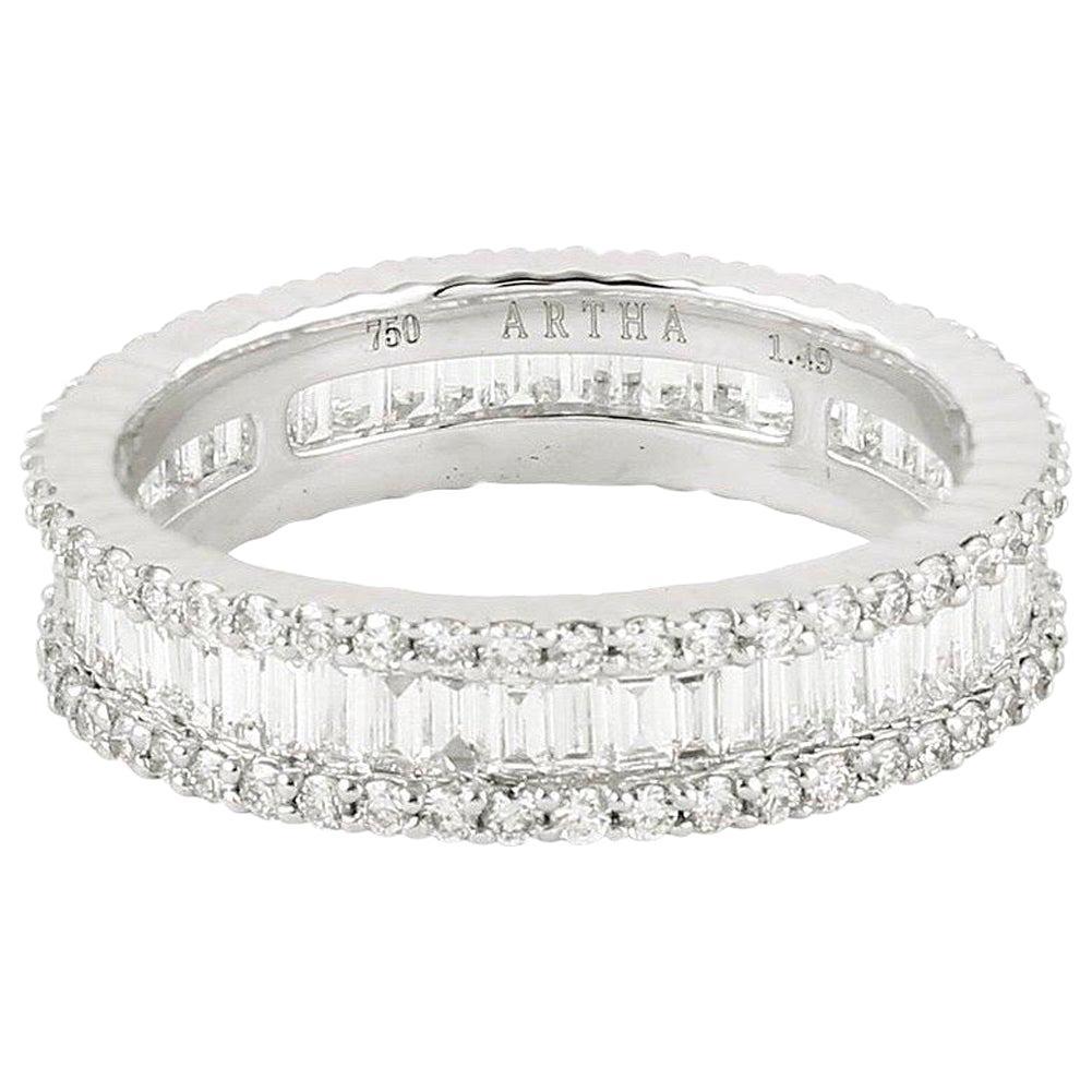 18 Karat Gold Baguette Diamond Engagement Ring