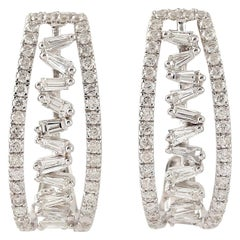 18 Karat Gold Baguette Diamond Hoop Earrings