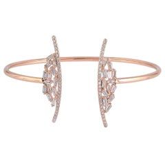 18 Karat Gold Baguette Diamond Open Bangle Bracelet
