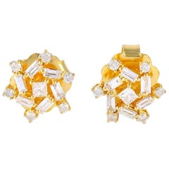 18 Karat Gold Baguette Diamond Stud Earrings