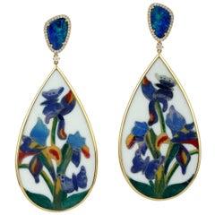 18 Karat Gold Bakelite Opal Flower Diamond Earrings