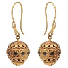 18 Karat Gold Ball Drop Earrings with Emeralds