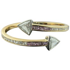 18 Karat Gold Bangle with White and Pink Diamonds with 2 Trillion Cuts in Plat