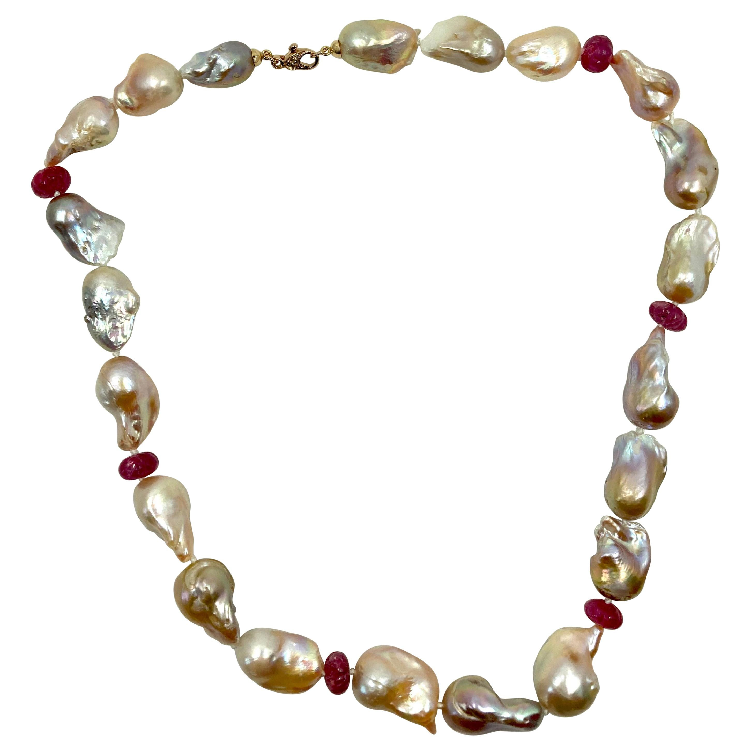 18 Karat Gold Baroque Pearls, Rubies and Brown Diamonds Necklace