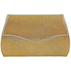 18 Karat Gold Basket Weave Gold Diamond Evening Bag