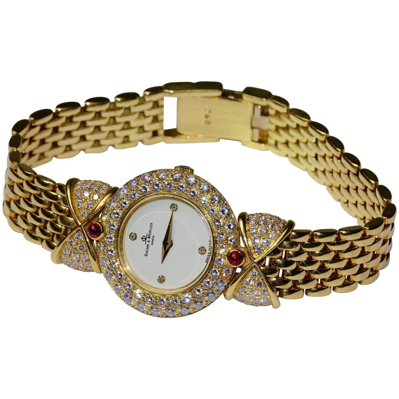 18 Karat Gold Baume & Mercier 'Loop Shape' Diamond Ladies Watch with Rubies