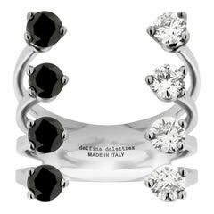 DELFINA DELETTREZ 18 Karat Gold Black and White Diamonds Domino Dots Ring