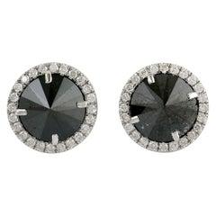18 Karat Gold Black Diamond Stud Earrings