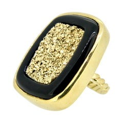 18 Karat Gold Black Onyx Druzy Ring