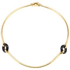 18 Karat Gold Black Onyx Necklace